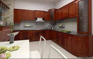 Tủ bếp dạng chữ L:Tủ bếp gỗ Hương dạng chữ L TBL_10