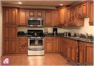 Tủ bếp dạng chữ L:Tủ bếp gỗ Hương dạng chữ L TBL_12