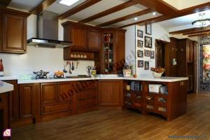 Tủ bếp dạng chữ L:Tủ bếp gỗ Hương dạng chữ L TBL_11