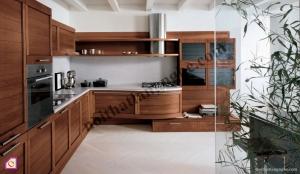 Tủ bếp dạng chữ L:Tủ bếp gỗ Óc Chó dạng chữ L TBL_14