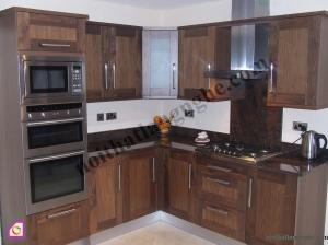 Tủ bếp dạng chữ L:Tủ bếp gỗ Óc Chó dạng chữ L TBL_15