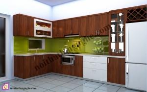 Tủ bếp dạng chữ L:Tủ bếp gỗ Óc Chó dạng chữ L TBL_16
