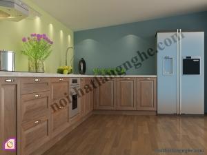 Tủ bếp dạng chữ L:Tủ bếp gỗ Óc Chó dạng chữ L TBL_17