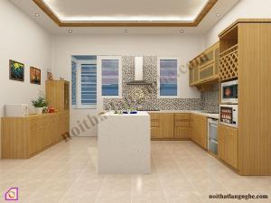 Tủ bếp dạng chữ L:Tủ bếp gỗ Sồi dạng chữ L TBL_20