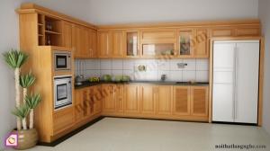 Tủ bếp dạng chữ L:Tủ bếp gỗ Xoan Đào dạng chữ L TBL_23