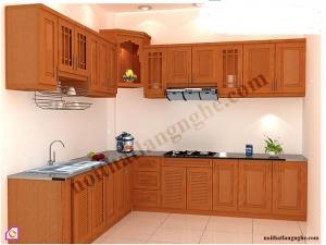 Tủ bếp dạng chữ L:Tủ bếp gỗ Xoan Đào dạng chữ L TBL_24