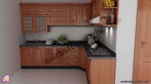 Tủ bếp dạng chữ L:Tủ bếp gỗ Xoan Đào dạng chữ L TBL_26