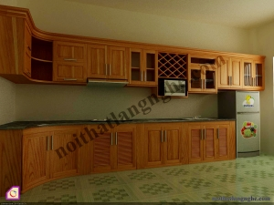 Tủ bếp dạng chữ L:Tủ bếp gỗ Xoan Đào dạng chữ L TBL_27