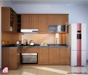 Tủ bếp dạng chữ L:Tủ bếp gỗ Xoan Đào dạng chữ L TBL_29