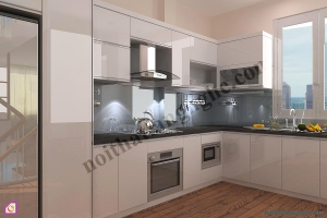 Tủ bếp dạng chữ L:Tủ bếp Laminate dạng chữ L TBL_30