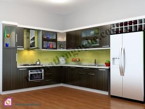 Tủ bếp dạng chữ L:Tủ bếp Laminate dạng chữ L TBL_36