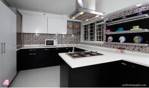 Tủ bếp dạng chữ U:Tủ bếp Acrylic dạng chữ U TBU_03