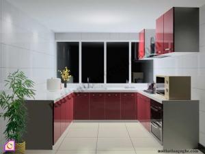 Nội thất phòng bếp:Tủ bếp Acrylic dạng chữ U TBU_04