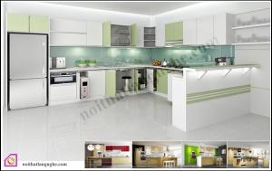 Nội thất phòng bếp:Tủ bếp Acrylic dạng chữ U TBU_05