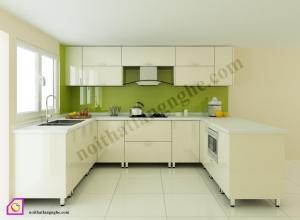 Tủ bếp dạng chữ U:Tủ bếp Acrylic dạng chữ U TBU_06
