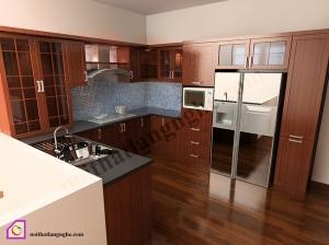 Nội thất phòng bếp:Tủ bếp gỗ Hương dạng chữ U TBU_07