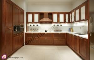 Tủ bếp dạng chữ U:Tủ bếp gỗ Óc Chó dạng chữ U TBU_09