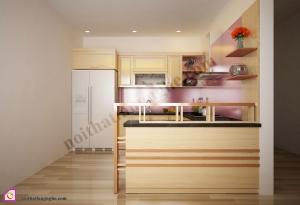 Nội thất phòng bếp:Tủ bếp gỗ Sồi dạng chữ U TBU_12