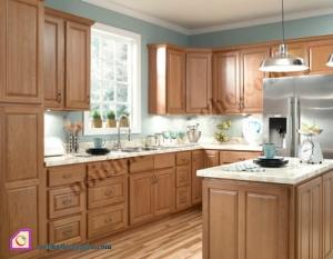 Nội thất phòng bếp:Tủ bếp gỗ Xoan Đào dạng chữ U TBU_15