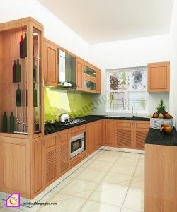 Tủ bếp dạng chữ U:Tủ bếp gỗ Xoan Đào dạng chữ U TBU_16