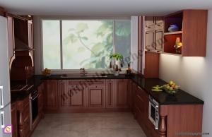 Nội thất phòng bếp:Tủ bếp gỗ Xoan Đào dạng chữ U TBU_18