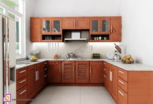 Nội thất phòng bếp:Tủ bếp gỗ Xoan Đào dạng chữ U TBU_19