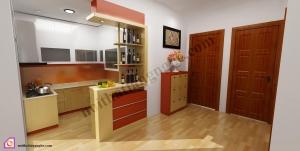 Tủ bếp dạng chữ U:Tủ bếp gỗ Veneer dạng chữ U TBU_33