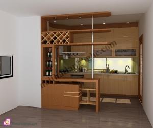 Tủ bếp dạng chữ U:Tủ bếp gỗ Veneer dạng chữ U TBU_34