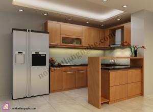 Tủ bếp dạng chữ U:Tủ bếp gỗ Veneer dạng chữ U TBU_35