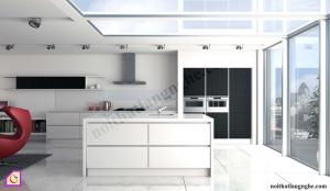 Nội thất phòng bếp:Tủ bếp Acrylic có bàn đảo TBĐ_02