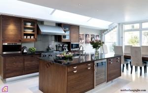 Nội thất phòng bếp:Tủ bếp gỗ Óc Chó có bàn đảo TBĐ_05
