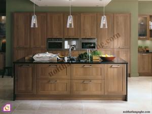 Nội thất phòng bếp:Tủ bếp gỗ Óc Chó có bàn đảo TBĐ_06