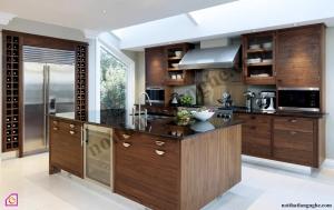 Nội thất phòng bếp:Tủ bếp gỗ Óc Chó có bàn đảo TBĐ_07