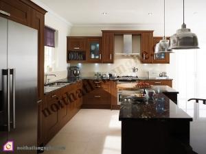 Nội thất phòng bếp:Tủ bếp gỗ Óc Chó có bàn đảo TBĐ_10