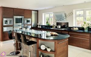 Nội thất phòng bếp:Tủ bếp gỗ Óc Chó có bàn đảo TBĐ_11