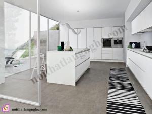 Tủ bếp Laminate trắng có bàn đảo TBĐ_21
