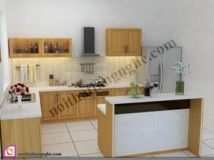 Tủ bếp Veneer có bàn đảo TBĐ_27