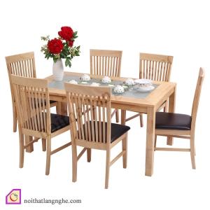 Bàn ghế ăn:Bộ bàn ghế ăn Sồi Nga 6 ghế BGA_07