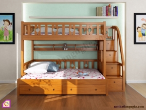 Nội thất trẻ em:Giường tầng gỗ Sồi GT_39