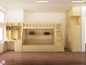 Nội thất trẻ em:Giường tầng kết hợp phòng ngủ GT_43