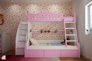 Nội thất trẻ em:Giường tầng bé gái GT_48