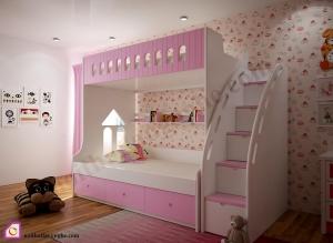 Nội thất trẻ em:Giường tầng bé gái GT_50